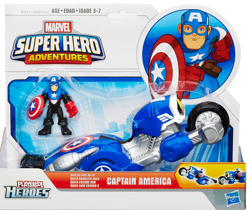 Marvel Playskool Heroes Super Hero Adventures Captain America with Shield Bike Action Figure Set