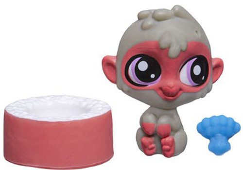 Littlest Pet Shop The Littlest Pets Collection Series 2 Red & Brown Monkey with Bowl 1-Inch [Loose]