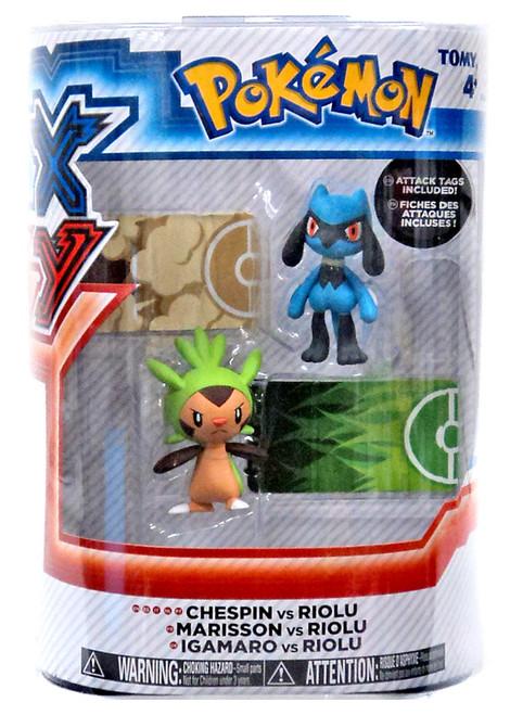 Pokemon XY Chespin vs. Riolu Figure 2-Pack