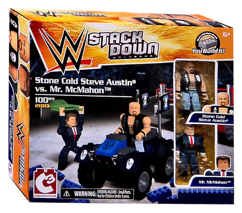 WWE Wrestling C3 Construction StackDown Stone Cold Steve Austin vs Mr. McMahon Playset #21013