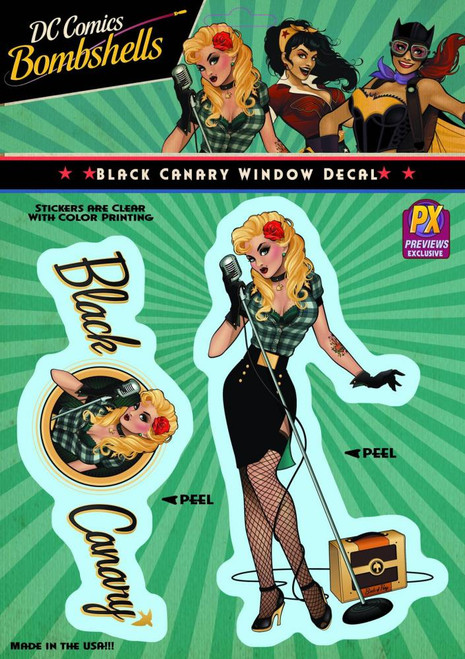 DC Bombshells Black Canary Exclusive Vinyl Window Decal