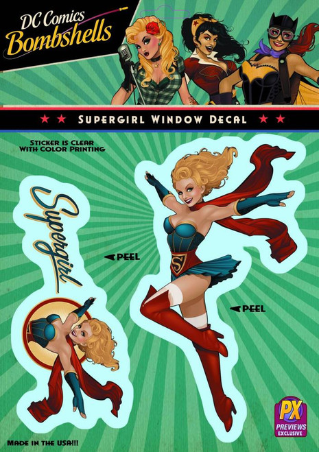 DC Bombshells Supergirl Vinyl Window Decal