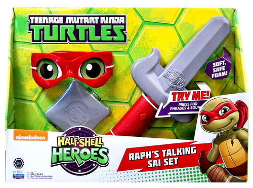 Teenage Mutant Ninja Turtles TMNT Half Shell Heroes Raph's Talking Sai Set Roleplay Toy