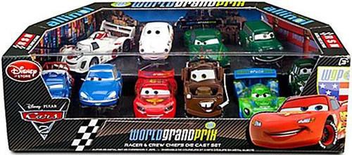 Disney / Pixar Cars Cars 2 1:43 Multi-Packs World Grand Prix Racer & Crew Chiefs Exclusive Diecast Car Set [Set #1, Damaged Package]