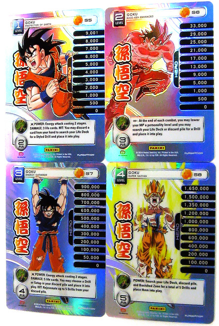 Dragon Ball Z Trading Card Game 2014 Starter Set Set of 4 Goku Personality Fixed Single Cards S5-S8 [Prizm Foil]