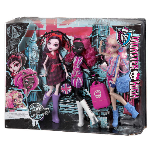 Monster High Ghoulebrities in Londoom Elissabat, Catty Noir & Viperine Gorgon Exclusive 10.5-Inch Doll 3-Pack