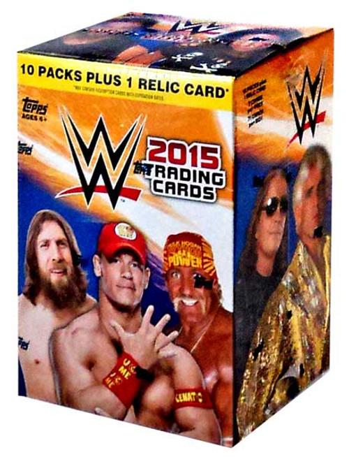 WWE Wrestling Topps 2015 Trading Card BLASTER Box [10 Packs, 1 Relic Card!]