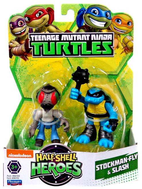 Teenage Mutant Ninja Turtles TMNT Half Shell Heroes Stockman-Fly & Slash Action Figure 2-Pack