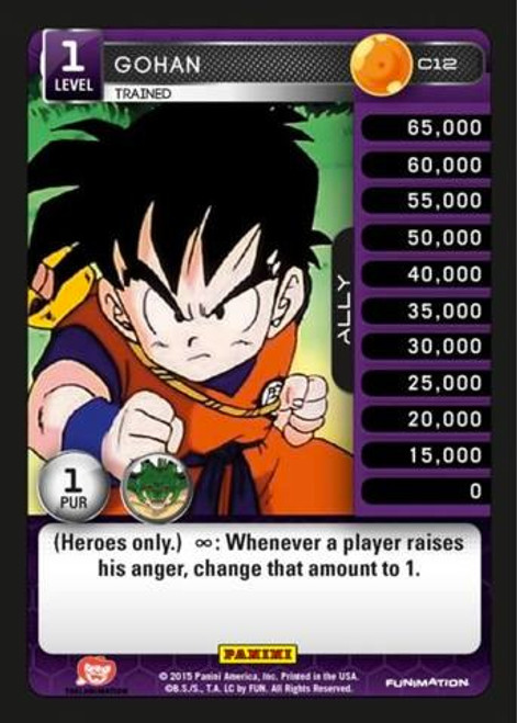 Dragon Ball Z CCG Heroes & Villains Common Gohan, Trained C12