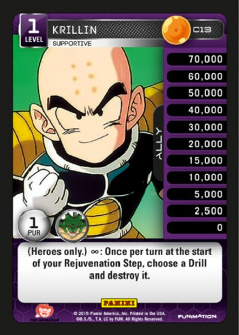 Dragon Ball Z CCG Heroes & Villains Common Krillin, Supportive C13