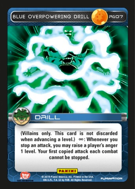 Dragon Ball Z CCG Heroes & Villains Rare Blue Overpowering Drill R107