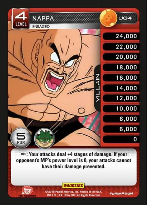 Dragon Ball Z Heroes & Villains Uncommon Foil Nappa, Enraged U64
