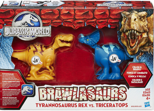 Jurassic World Brawlasaurs Tyrannosaurus Rex vs Triceratops Action Figure 2-Pack