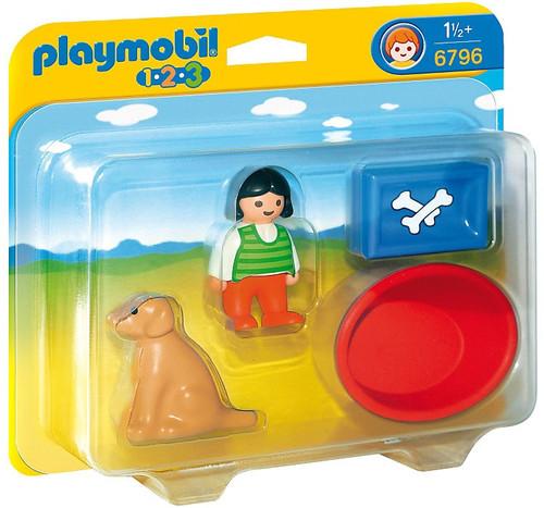 Playmobil 1.2.3 Girl with Dog Set #6796