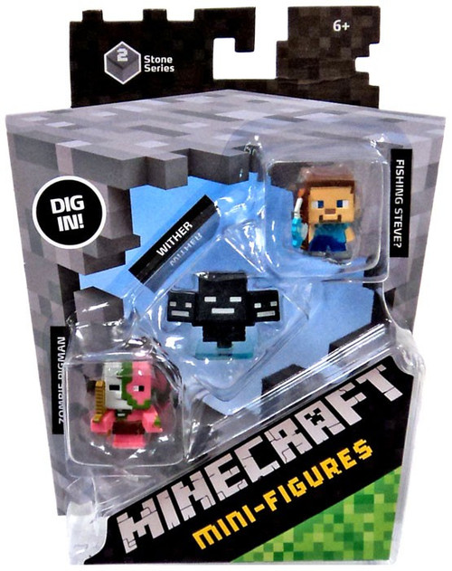 Minecraft Stone Series 2 Zombie Pigman, Wither & Fishing Steve Mini Figure 3-Pack