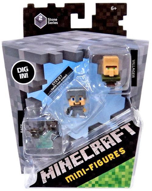 Minecraft Stone Series 2 Bats, Steve? & Villager Mini Figure 3-Pack