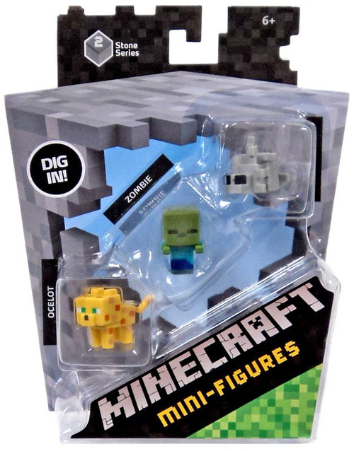 Minecraft Stone Series 2 Ocelot, Zombie & Silverfish Mini Figure 3-Pack