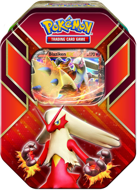 Pokemon Trading Card Game 2015 Hoenn Power Blaziken-EX Tin Set [4 Booster Packs & Promo Card!]