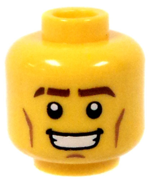 Male With Thick Eye Brows and Cheek Lines Minifigure Head [Yellow Loose]