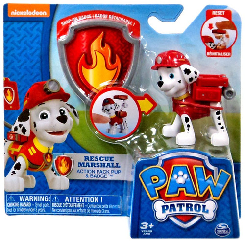 Paw Patrol Action Pack & Badge Rescue Marshall Figure