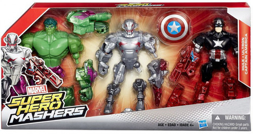 Marvel Super Hero Mashers Battle Mash Pack Hulk, Ultron & Captain America Exclusive Action Figure 3-Pack