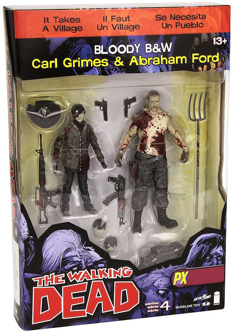 McFarlane Toys The Walking Dead Comic Series 4 Carl Grimes & Abraham Ford Exclusive Action Figure 2-Pack [Bloody Black & White]