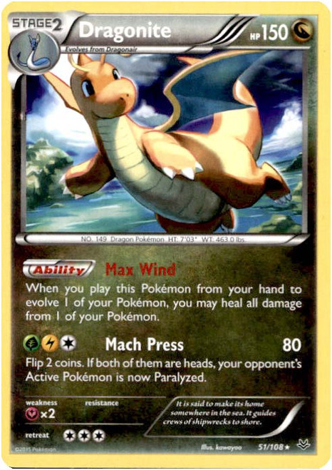 Pokemon X & Y Roaring Skies Rare Dragonite #51