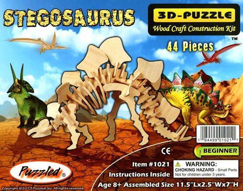 3D-Puzzle Wood Construction Kit Stegosaurus Puzzle #1021 [44 Pieces]