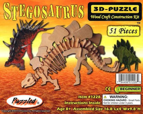 3D-Puzzle Wood Construction Kit Stegosaurus Puzzle #1228 [51 pieces]