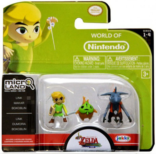 World of Nintendo New Super Mario Bros U Micro Land Series 4 Link, Makar & Bokoblin 1-Inch Mini Figure 3-Pack