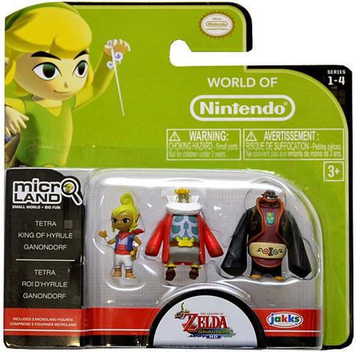 World of Nintendo New Super Mario Bros U Micro Land Series 4 Tetra, King of Hyrule & Ganondorf 1-Inch Mini Figure 3-Pack