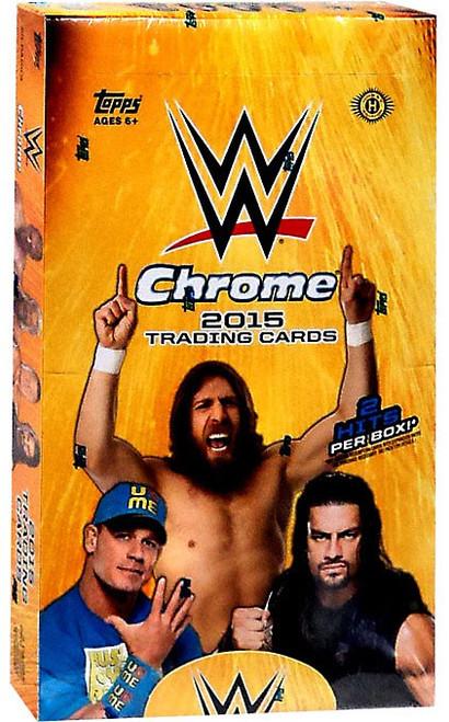 WWE Wrestling Topps 2015 Chrome Trading Card HOBBY Box [24 Packs, 2 Autograph OR Memorabilia Cards!]