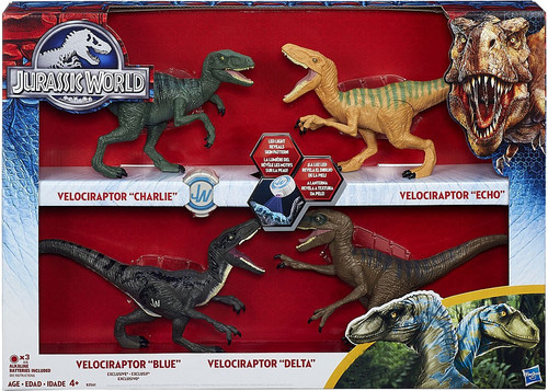Jurassic World Velociraptor Charlie, Delta, Echo & Blue Exclusive Action Figure 4-Pack