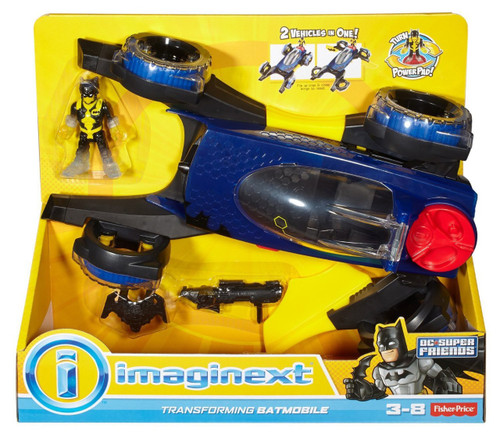 Fisher Price DC Super Friends Imaginext Transforming Batmobile 3-Inch Figure Set