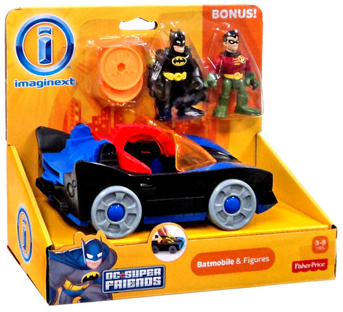 Fisher Price DC Super Friends Imaginext Batmobile & Figures 3-Inch Set