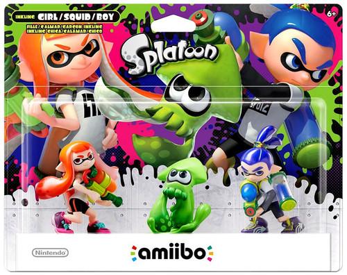 Nintendo Splatoon Amiibo Inkling Girl, Squid & Boy Mini Figure 3-Pack
