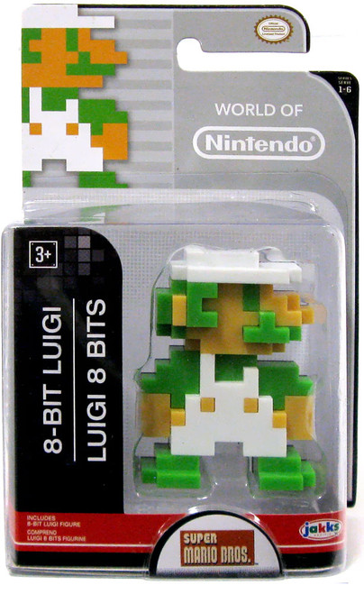 World of Nintendo Super Mario Bros. 8 Bit Luigi 2.5-Inch Mini Figure [Version 2]