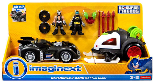 Fisher Price DC Super Friends Imaginext Batmobile & Bane Battle Sled Figure Set