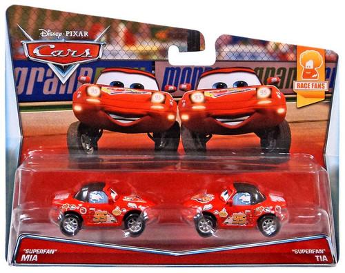 """Disney / Pixar Cars Race Fans """"Superfans"""" Mia & Tia Diecast Car 2-Pack #7/9 & 8/9"""