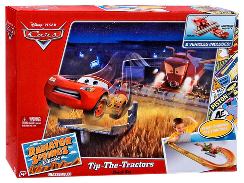 Disney / Pixar Cars Radiator Springs Classic Tip-The-Tractors Diecast Car Track Set