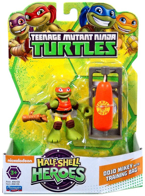 Teenage Mutant Ninja Turtles TMNT Half Shell Heroes Dojo Mikey with Training Bag Action Figure
