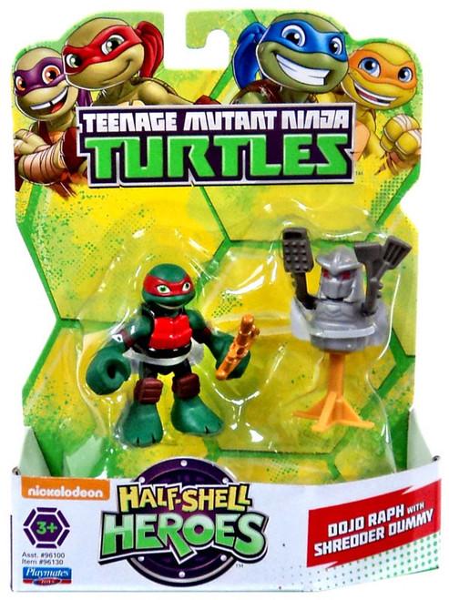 Teenage Mutant Ninja Turtles TMNT Half Shell Heroes Dojo Raph with Shredder Dummy Action Figure