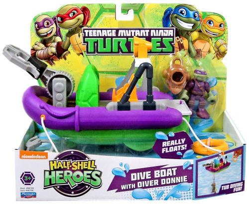 Teenage Mutant Ninja Turtles TMNT Half Shell Heroes Dive Boat with Diver Donnie Action Figure Vehicle