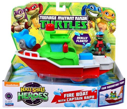 Teenage Mutant Ninja Turtles TMNT Half Shell Heroes Fire Boat with Captain Raph Action Figure Vehicle