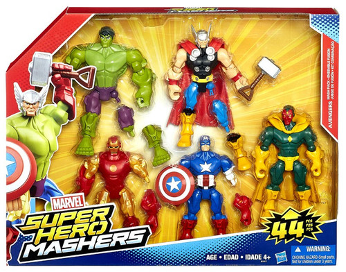 Marvel Super Hero Mashers Battle Mash Pack Captain America, Iron Man, Hulk, Thor & Vision Action Figure 5-Pack