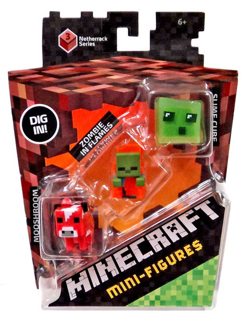 Minecraft Netherrack Series 3 Mooshroom, Zombie in Flames & Slime Cube Mini Figure 3-Pack