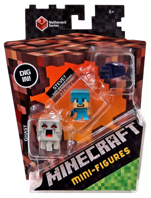 Minecraft Netherrack Series 3 Ghast, Steve? & Endermite Mini Figure 3-Pack