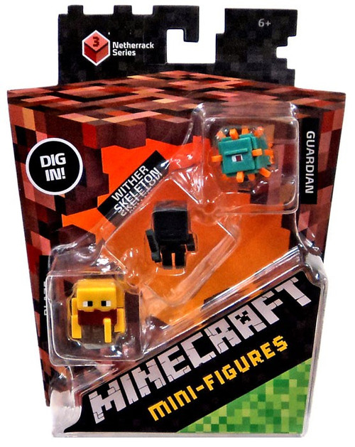 Minecraft Netherrack Series 3 Blaze, Wither Skeleton & Guardian Mini Figure 3-Pack