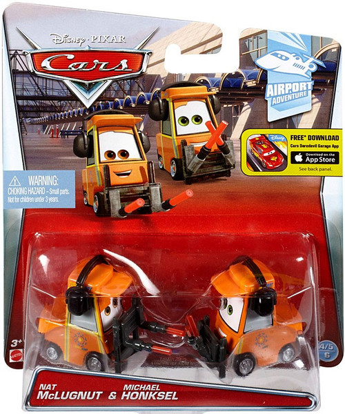 Disney / Pixar Cars Airport Adventure Nat McLugnut & Michael Honksel Diecast Car #4/6 & 5/6