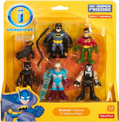 Fisher Price DC Super Friends Imaginext Batman Heroes & Villains Batman, Robin, Catwoman, Mr Freeze & Bane 3-Inch Mini Figure 5-Pack